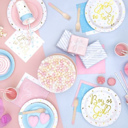 Boy or Girl? White Napkins with Pink Hearts and Blue Stars I My Dream Party Shop I UK