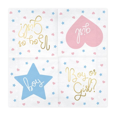 White Napkins inscribed with Boy or Girl? in Gold Foil I My Dream Party Shop I UK