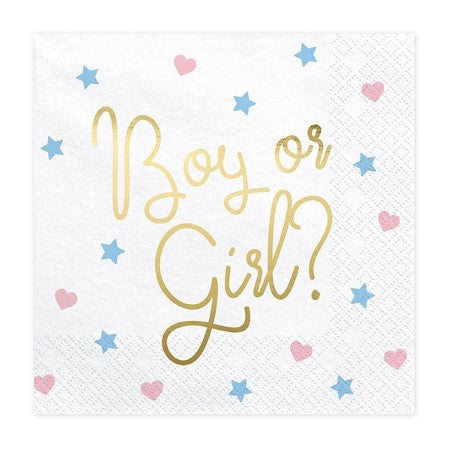 Close up of White Baby Shower Napkins with Boy or Girl? in Gold Foil I My Dream Party Shop I UK