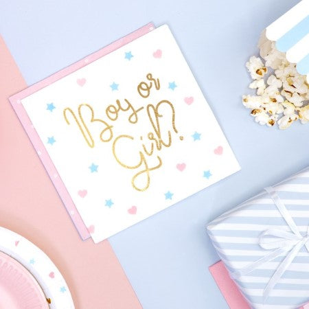 White Gender Reveal Party Napkins with Gold Foil I My Dream Party Shop I UK