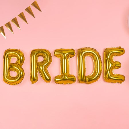 """Bride"" Giant Gold Letter Foil Bunting Phrase Balloons I Modern Hen Do Decorations I My Dream Party Shop I UK"