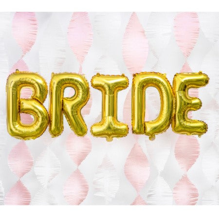 """Bride"" Giant Gold Letter Foil Bunting Phrase Balloons I Stylish, Modern Hen Party Decorations I My Dream Party Shop I UK"