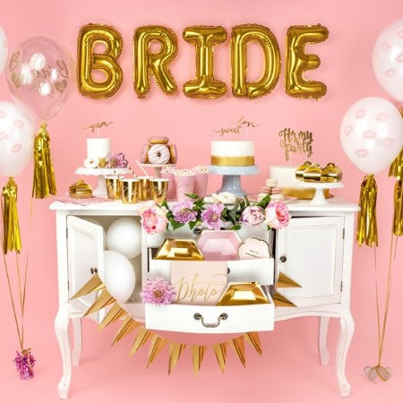 Gold Bride Balloon Bunting I Stylish, Modern Hen Party Decorations I UK