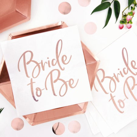 White and Rose Gold Bride to Be Napkins I Modern Hen Party Supplies and Decorations I My Dream Party Shop I UK