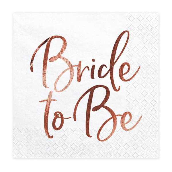 White and Rose Gold Bride to Be Napkins I Rose Gold Hen Party Supplies and Decorations I My Dream Party Shop I UK