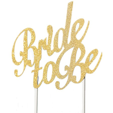 """Bride to Be"" Gold Glitter Cake Topper I Cake Decorations I My Dream Party Shop I UK"