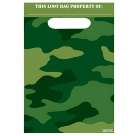 Camouflage Army Party Bags - Plastic Loot Bags - 8 pack - My Dream Party Shop