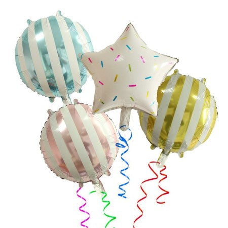 Candy Striped Lollipop Gold Foil Round Balloons I Cool Party Balloons I My Dream Party Shop I UK