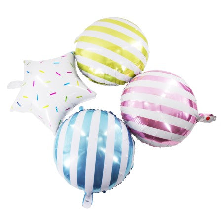 Candy Striped Lollipop Blue Foil Round Balloons I Modern Balloons & Decorations I My Dream Party Shop I UK