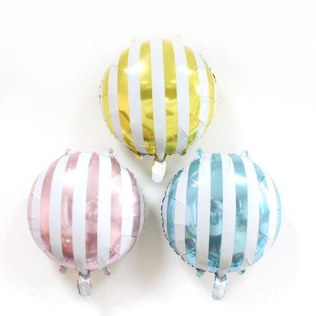 Candy Striped Lollipop Pink Foil Round Balloons I Cool Candy Balloons I My Dream Party Shop I UK