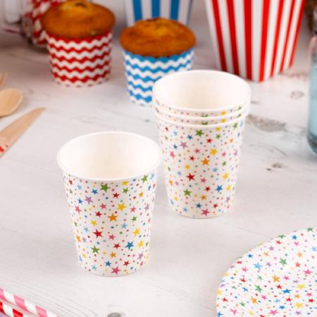 Carnival Rainbow Stars Paper Party Cups I Rainbow Party Tableware I My Dream Party Shop I UK