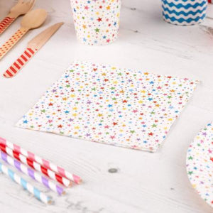 Carnival Rainbow Stars Paper Party Napkins - My Dream Party Shop