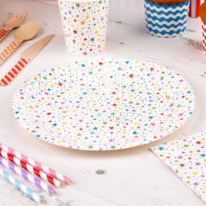 Carnival Rainbow Stars Paper Plates - My Dream Party Shop