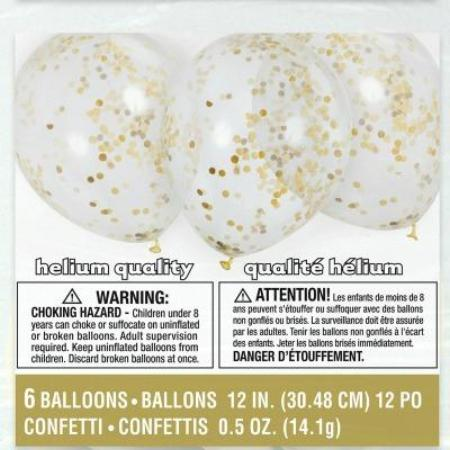 Clear 12 Inch Latex Balloons With Gold Confetti 6 Pack I Giant and Small Confetti Balloons I My Dream Party Shop