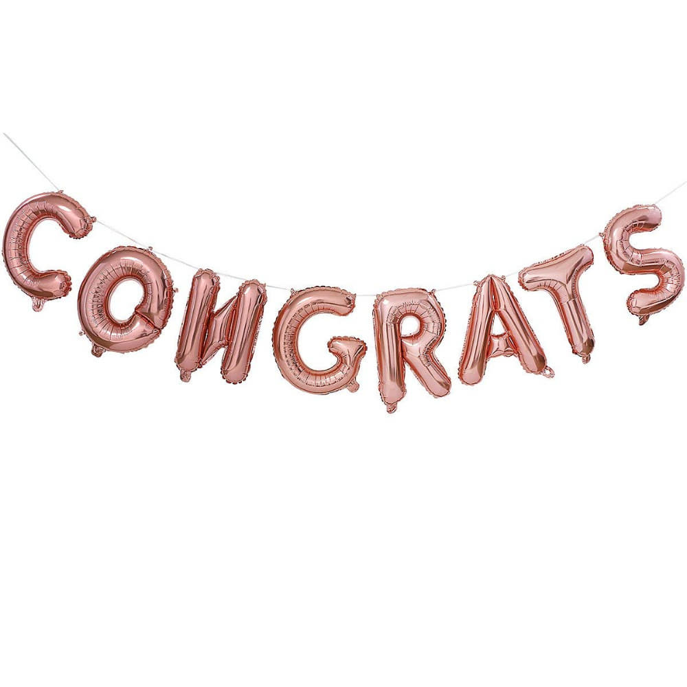 Congrats Rose Gold Balloon Bunting I Cool Phrase Balloons I My Dream Party Shop I UK