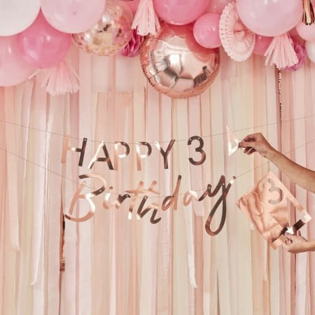 Customisable Rose Gold Milestone Birthday Garland I Rose Gold Decorations I My Dream Party Shop UK