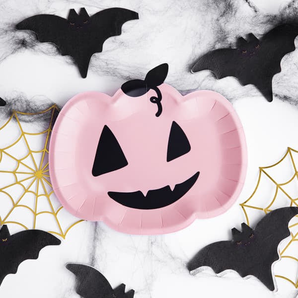 Cute Pink Pumpkin Plates I Pink and Black Halloween Party I My Dream Party Shop I UK