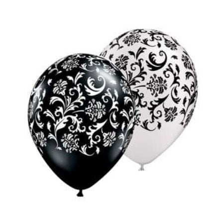 Black and White Damask Balloons I Black and White Party Supplies I My Dream Party Shop
