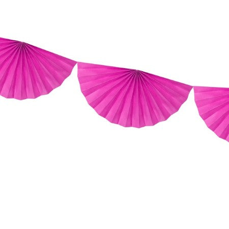 Dark Pink Fan Garland I Modern Tissue Decorations I UK