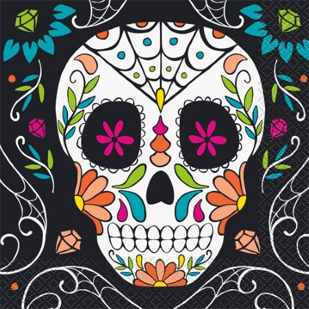 Day of the Dead Skull Napkins I Halloween Party I My Dream Party Supplies UK