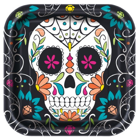 Day of the Dead Skull Square Plates I Day of the Dead Party I My Dream Party Shop