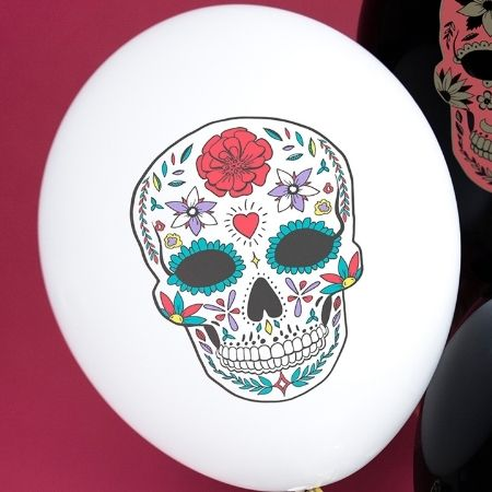 White Day of the Dead Latex Skull Balloons I Day of the Dead Party I My Dream Party Shop UK