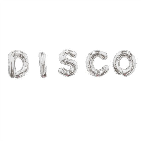 DISCO Silver Balloon Bunting I Balloons spelling the word Disco I UK