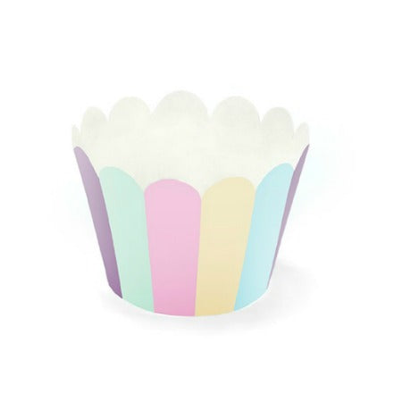 Pastel Unicorn Cupcake Wrappers I Pastel Stripes Cupcake Wrapper I UK