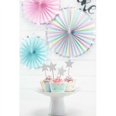 Pastel and Silver Rosette Fans I Modern Party Decorations I My Dream Party Shop UK