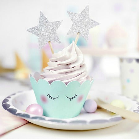 Pastel Unicorn Cupcake Wrappers I Pastel Green Cupcake Wrapper with Silver Stars on Top I UK