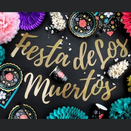 Fiesta de Los Muertos Gold Garland I Day of the Dead Party Supplies I My Dream Party Shop UK