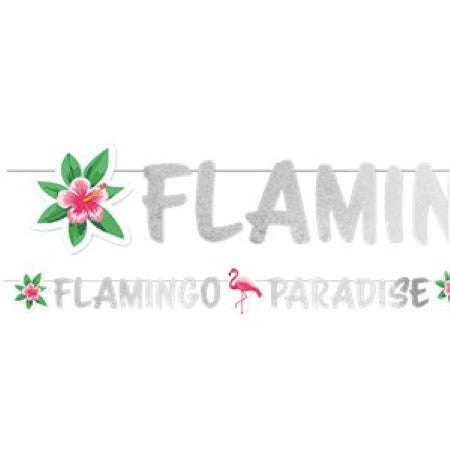 Flamingo Paradise Silver Garland I Garland Spelling out the Words Flamingo Paradise