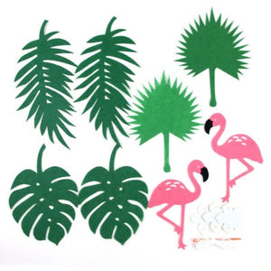 Pink Felt Flamingo and Green Leaves Garland I Tropical Flamingo Party Decorations I My Dream Party Shop I UK