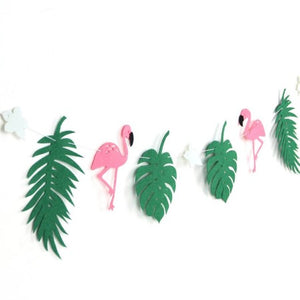 Hot Pink Felt Flamingo and Green Tropical Leaves Garland I Flamingo Party Decorations I My Dream Party Shop I UK