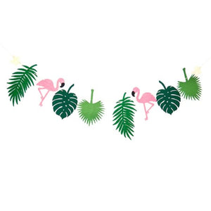 Hawaiian Flamingo and Green Tropical Leaves Garland I Flamingo Party Decorations I My Dream Party Shop I UK