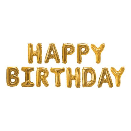Happy Birthday Gold Foil Balloons - My Dream Party Shop