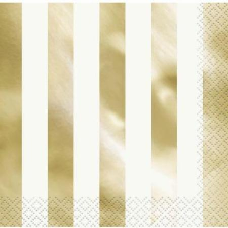 Metallic Gold Stripe Napkins - White Napkins with a Gold Foil Stripe I My Dream Party Shop UK