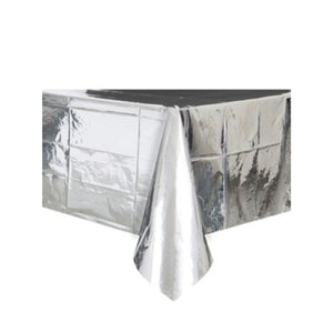 Metallic Foil Silver Rectangular Plastic Tablecover I Pretty Tableware I My Dream Party Shop I UK