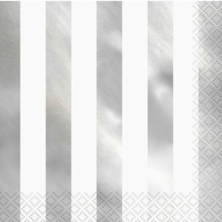 Foil Silver Stripe Napkins I White and Silver Foil Striped Party Napkins I Pack of 16 I UK
