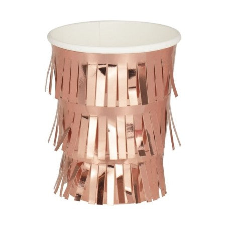 Fringe Rose Gold Cups I Modern Rose Gold Party Supplies I My Dream Party Shop