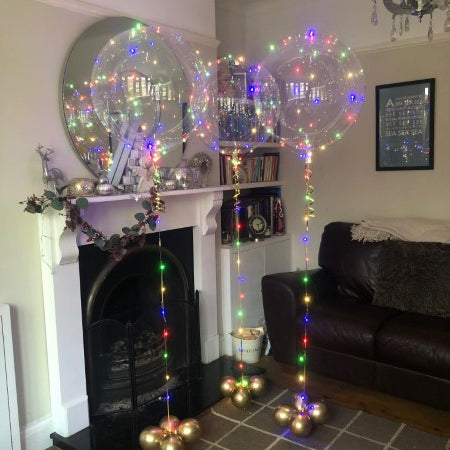 Giant Rainbow LED Crystal Clearz Balloon Inflated for Collection Ruislip I My Dream Party Shop