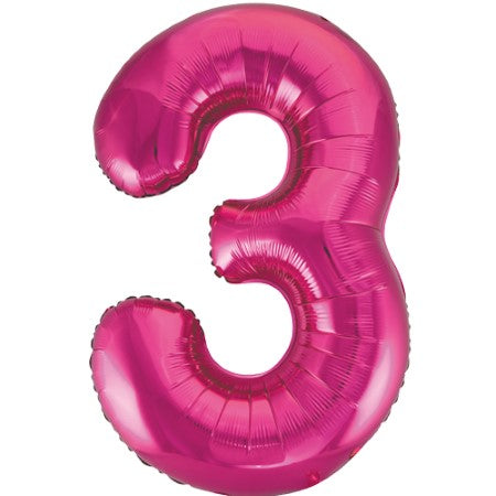Gigantic Metallic Pink Foil Number 3 Balloon I Milestone Birthday I My Dream Party Shop