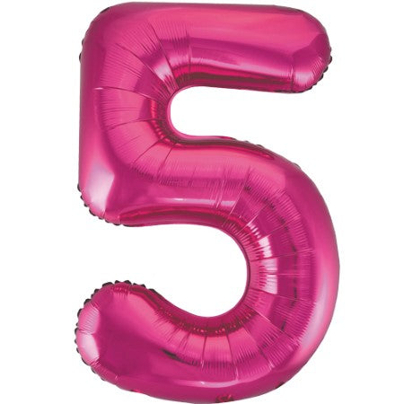 Gigantic Metallic Pink Foil Number 5 Balloon I Milestone Birthday I My Dream Party Shop
