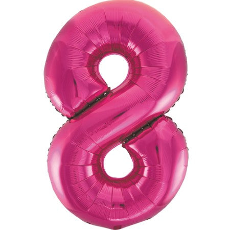 Gigantic Metallic Pink Foil Number 8 Balloon I Milestone Birthday I My Dream Party Shop