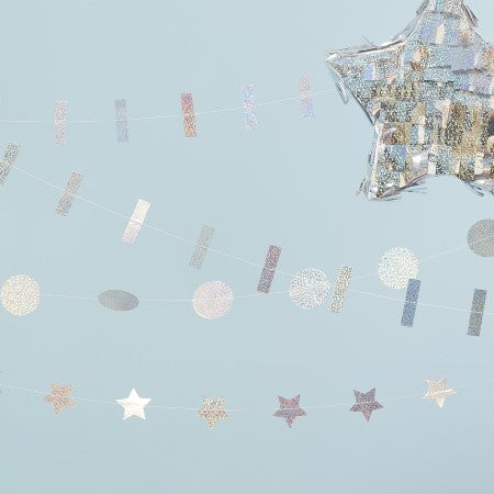 Holographic Mixed Pack of Garlands I Party Decorations I My Dream Party Shop I UK