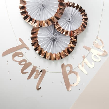 White and Rose Gold Foil Rosette Fans by Ginger Ray I Team Bride Hen Party Decorations I My Dream Party Shop I UK