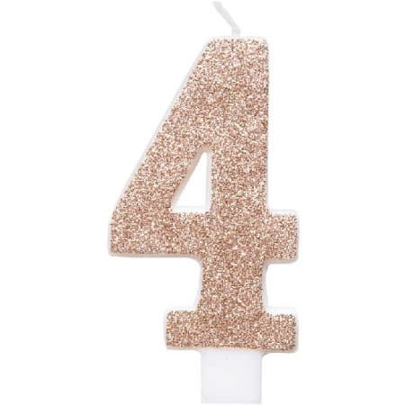 Rose Gold Number Four Candle I Rose Gold Number Candles I My Dream Party Shop UK