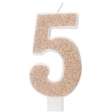 Rose Gold Number Five Candle I Rose Gold Number Candles I My Dream Party Shop UK