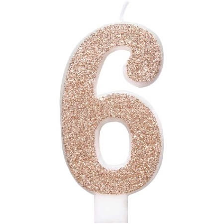 Rose Gold Number Six Candle I Rose Gold Number Candles I My Dream Party Shop UK