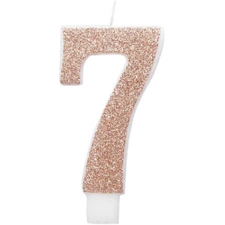 Rose Gold Number Seven Candle I Rose Gold Number Candles I My Dream Party Shop UK